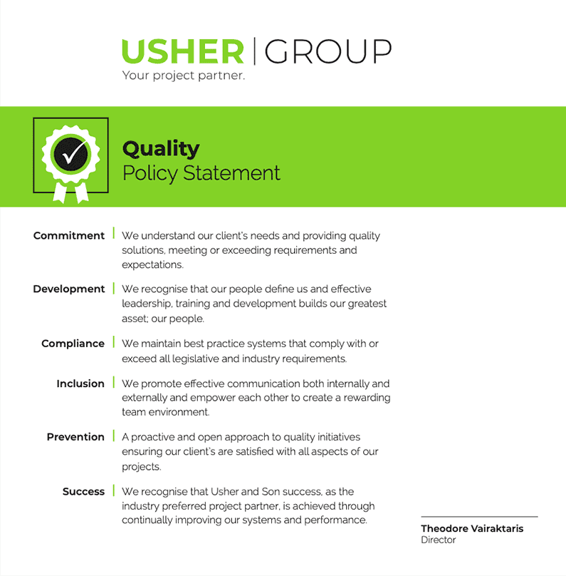 Quality-Policy-Usher